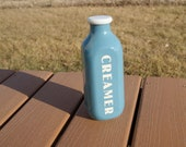 Ceramic Kitchen Canister Blue Retro Milk Jar Creamer Bottle Stoneware