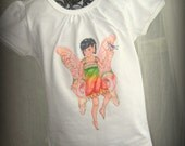 Whimsical Fairy Tee with Wings - Flower Fairy Willow with Appliqued Irridescent Wings on Back for Girls