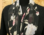 Shades of burgundy and pink, sage, blue and periwinkle Floral Infinity Chiffon Scarf