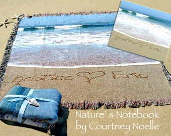 Gift for her -  Blanket with couple's name written in Real beach Sand 100% Cotton Blanket - Gift for Mother of Bride - Gift for Dad