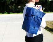 Deep Blue Vintage Bag . Ripple Texture Drawstring Purse