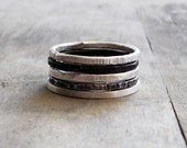sterling silver stacking rings - set of 5 sterling silver stackable rings mixed silver rings,stacking ring set