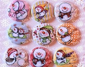 Cheerful Snowmen Christmas 1 inch Plastic Back Medallion Cabochon Cameo Charms 25mm Lot