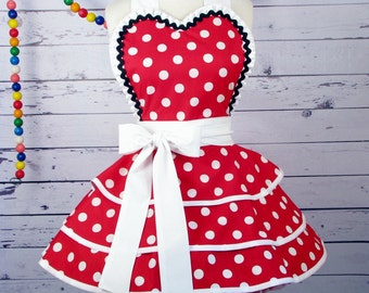Red Polka Dot French Maid Apron with Satin Ruffle by Dotties Diner
