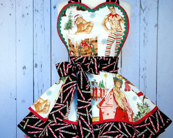 Hunks for Christmas Apron by Dots Diner - in stock