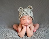 Crochet Baby Hat with bear Ears, Infant Boy or Girl Crochet bear hat, toddler, child, Ivory, off white, oatmeal, tan, MADE TO ORDER