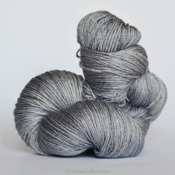 GREY ... Silky Fingering, hand dyed yarn