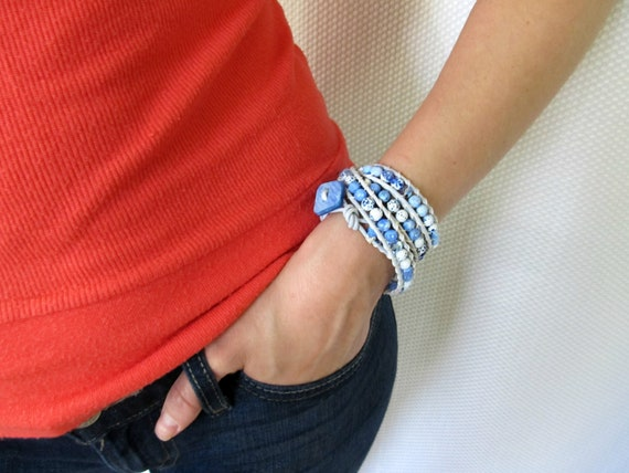 Leather beaded wrap bracelet in light blue with Swarovski crystals and agate Bohemian style