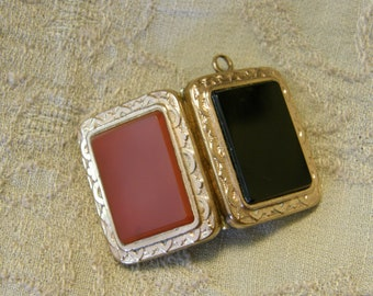 Antique Victorian double sided rose gold locket with carnelian and onyx for repair