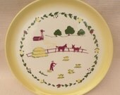Brock of California Farmhouse Yellow Large Round Serving Dish Platter Vintage 50's