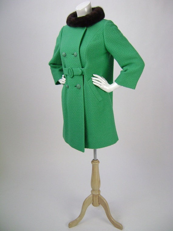 70s Coat / Womens 70s Mini Style Coat / Double Breasted / Teal Green Wool with Mink Collar / Small B34 Petite