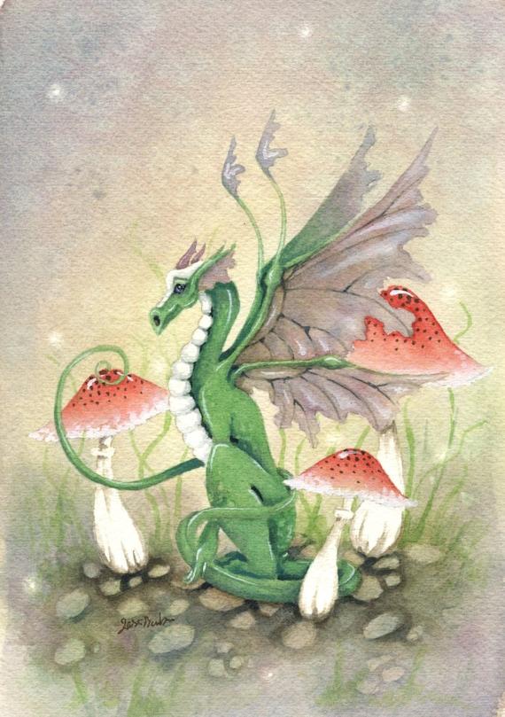 Dragon art original watercolor painting 6x9 ryn the dragon for Cute watercolor paintings