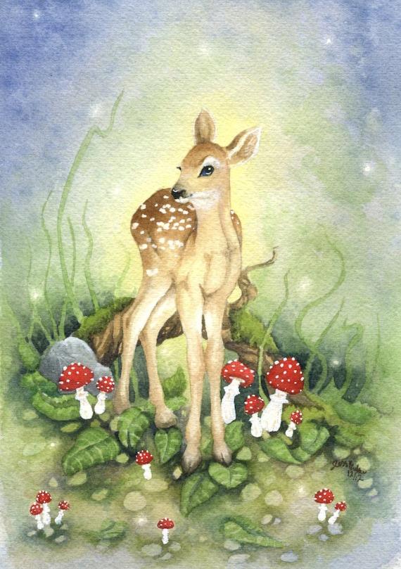 Little Fawn Fine Art Watercolor Print 5x7 Woodland