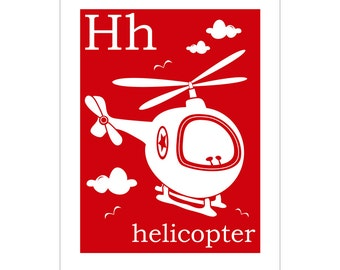 Children's Wall Art / Nursery Decor H is for Helicopter 8x10 inch print by Finny and Zook