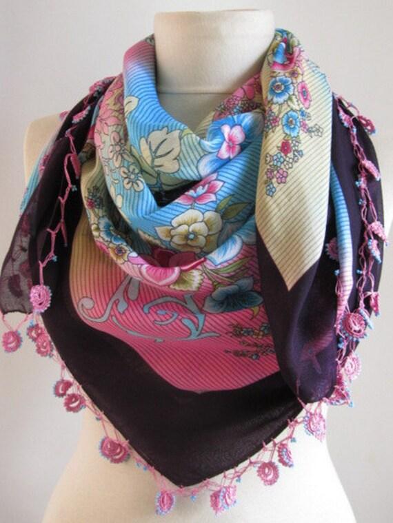 plum scarf // Turkish scarf // square scarf // Oya scarf // Blue Pink Scarf // woman scarf // hijab // accessories