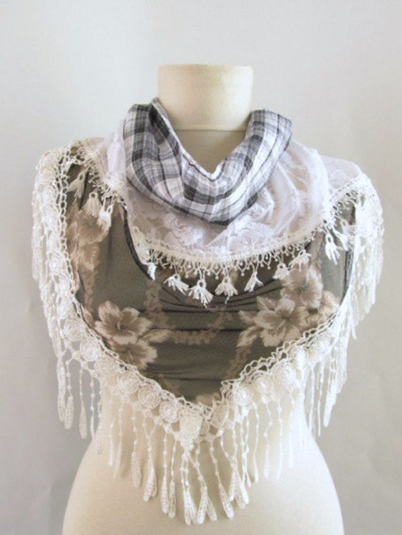 NEW...Fabric-Tulle  Tringle Scarf ..authentic, romantic, elegant, fashion