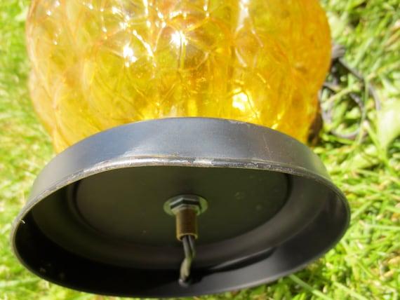 Vintage 1960 S 1970 S Gold Crackle Glass Lamp Set