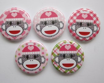 Magnets set of 5 sock monkey button magnets