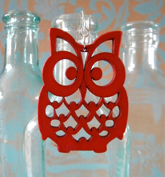 Brilliant Red Owl Earrings
