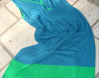 Jersey Knit Colorblock Blue Dress with Green Border size Small Sale