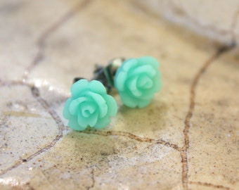 Earrings -- Tiny Sea Green Roses