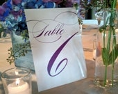 "Table Numbers  - 5x7"" Table Numbers, Any Color - Shown in Eggplant Purple"