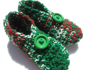 Christmas Slippers in Red Green and White ~Size Small ~Gift for Sisters, Present for Wife ~Crochet House Shoes, Stocking Stuffer