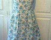 1950's style dress, square neckline, full skirt size 14 blue rose