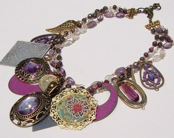 Purple Vintage Charm- Repurposed Vintage Necklace by Ashlee Collection on Etsy