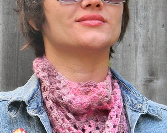 Hand Crocheted Medium Scarflette Scarf Shawl in Soft Wood Blend in Pink and Purple Multicolored Yarn