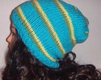 Knit Hat in Aqua Blue, Slouchy Beanie Winter Hat
