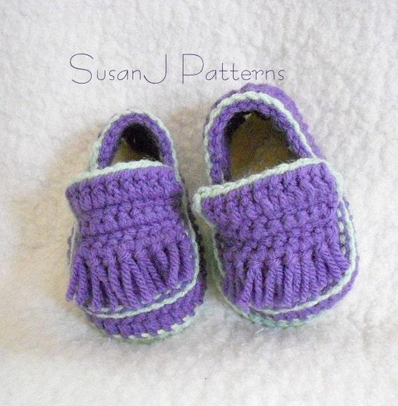 Crochet Pattern - Baby Fringe Loafers