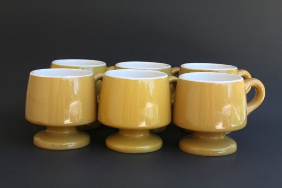 Vintage Pedestal Mugs, Yellow Coffee Cups Set of 6, Independence Stone Ware
