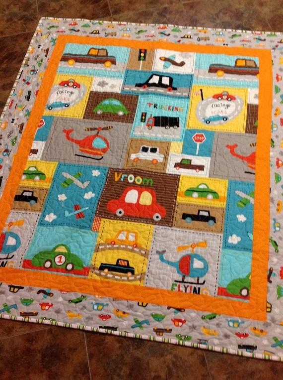 Baby Boy Crib Quilt Vroom 2 Cars Trucks Blue Brown
