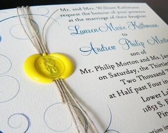 Wax Sealed Twine Wedding Invitation Sample