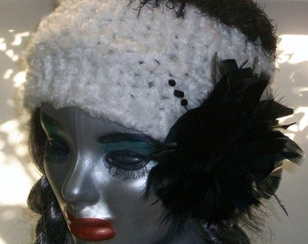 HAT WOMEN KNITTED Cloche Beanie   Black and White With Feather  Women Teens  Gift Knitted  Head cover