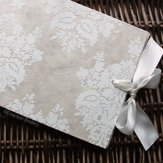 Wedding Guest Book, French Damask in Ivory No 2, Select a Size, READY to SHIP