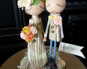 Wedding Cake Topper with Custom Wedding Dress - Custom Keepsake by MilkTea