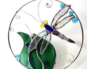Dragonfly stained glass suncatcher panel modern contemporary decorative art