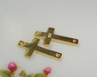 12x6mm, 5 pcs, 18K Gold Vermeil Sterling Silver Sideways Cross, Minimalist Collection