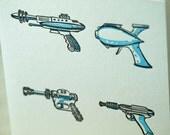 Letterpress Ray Guns card