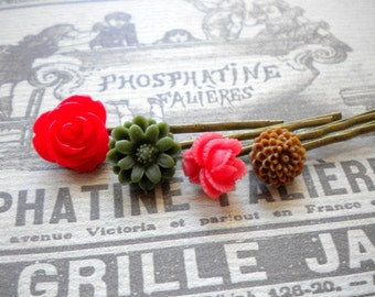 Red Bobby Pin Flower Cabochon Hair Accessories Flower Bobby Pin Gift For Girls Red Flower Hair Accessories Rose Bobby Pin Red Hair Pin