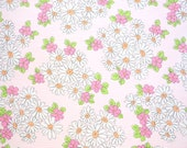 Pink Stripes & Daisies Vintage Sheet - Fat Quarter (FP010)