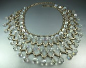 Vintage Egyptian Revival Aurora Borealis Crystal Wide Bib Necklace