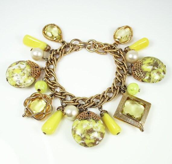 Vintage Yellow Glass Faux Pearl Charm Bracelet
