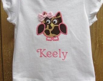Personalized Owl Shirt-Personalized Embroidered Giraffe Owl shirt- Children's Owl Shirt- Applique Owl Shirt