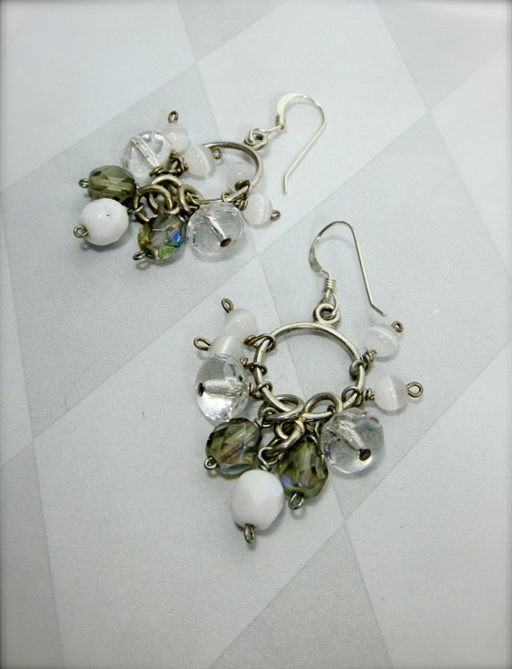 Super dangly sparkly bead and gem cluster white grey clear with sterling hoops by Camba Jewelry