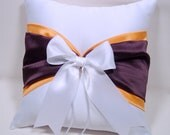 Eggplant / Plum Purple & Orange  White or Ivory  Wedding Ring Bearer Pillow