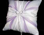 White or Ivory Wedding Ring Bearer Pillow Lavender Accent