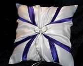 Regency Purple White or Ivory Wedding Ring Bearer Pillow